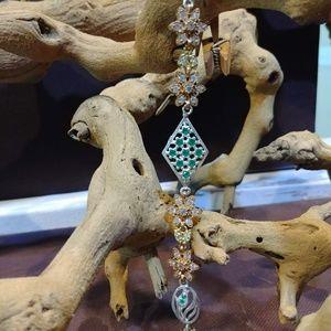 Sterling & Bronze Emerald Bracelet